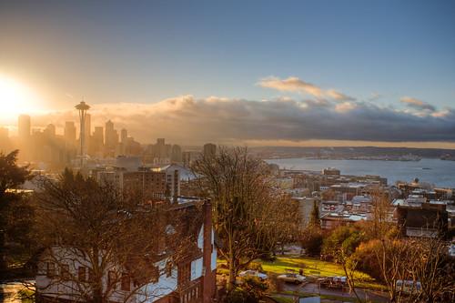 Sun Rising in Seattle