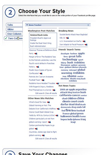 Washingtonpost.com's newstracker for facebook (by Roebot)