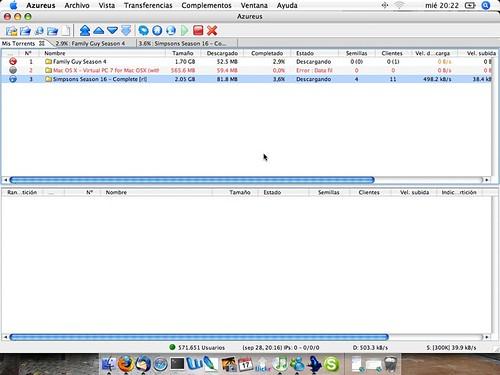 Captura de pantalla del bittorrent