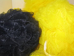 Image of Steeler-colored loofahs