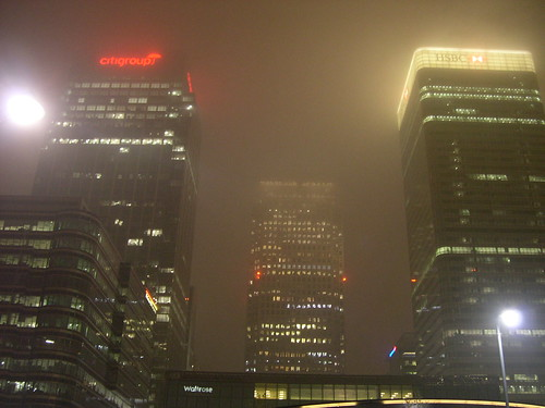 Canary wharf in the fog