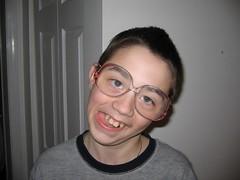 Sean wearing my Mom's magifying glasses