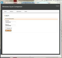Logon Page on Windows Azure Companion