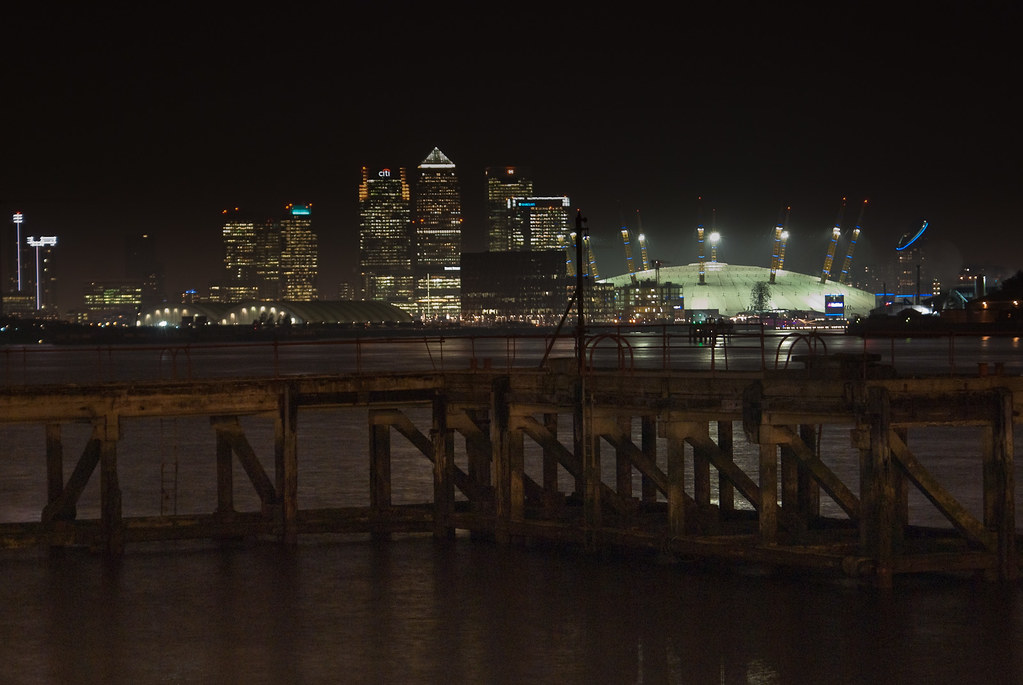 The Dome and Canary Wharf, night