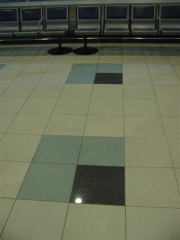 The tiles at the airport