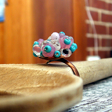 floral pink ring side view