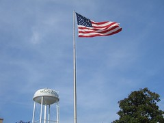 Water tower in Pine Mountain (with flag)