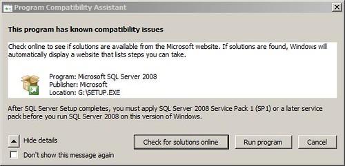 SQL 2008 Warning