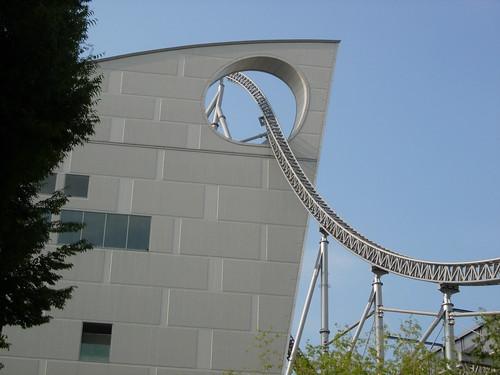 Suidobashi. Roller coaster through building