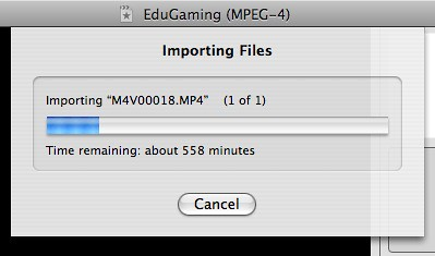 MPEG4 import taking forever in iMovie
