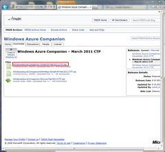 download page of Windows Azure Companion