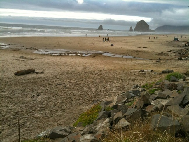 View from Mo's Restaurant of famous Haystack Rock on Cannon Beach