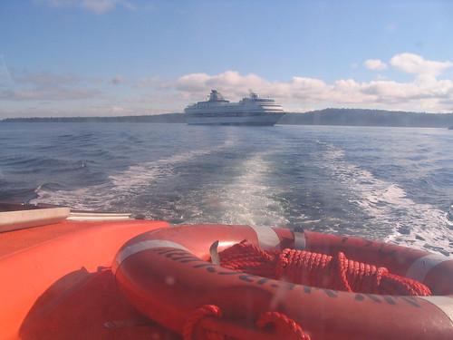 Lifeboat leaving ship for Nanaimo, B.C.