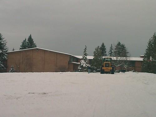 Snow plow at St. Monica's Church
