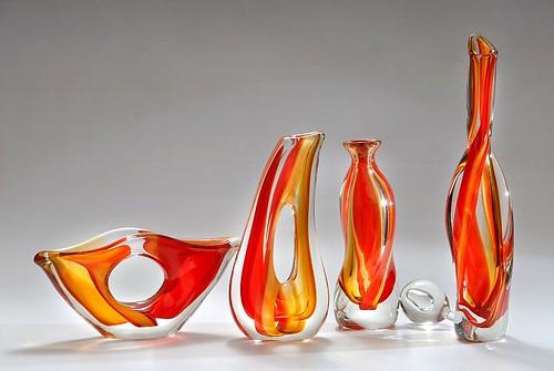 Piezas de vidrio soplado de Cristais Sao Marcos
