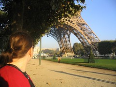 Bright and early, Lydia takes in the Eiffel Tower as we wait for our Segway rendezvous.