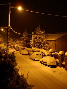 L'avenue des Patriotes sous la neige, le soir