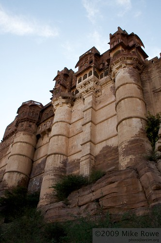 Imposing walls of Meherangarh Fort
