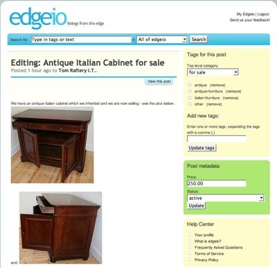 Edgeio edit listing page