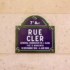 Photo of a street sign for Rue Cler