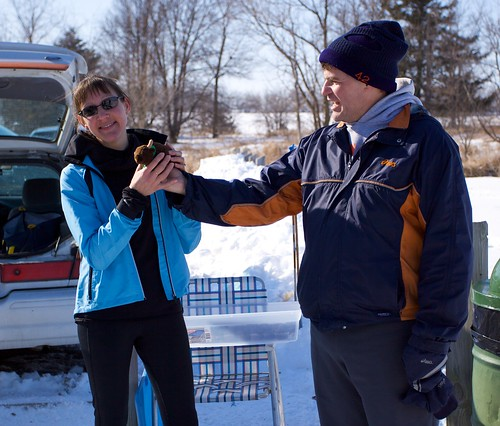 Jeff awards Becky the 1st place travelling trophy