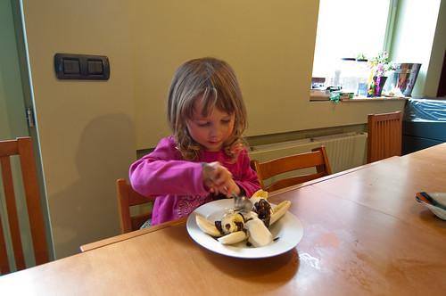 Banaan en ijs en chocolade en slagroom