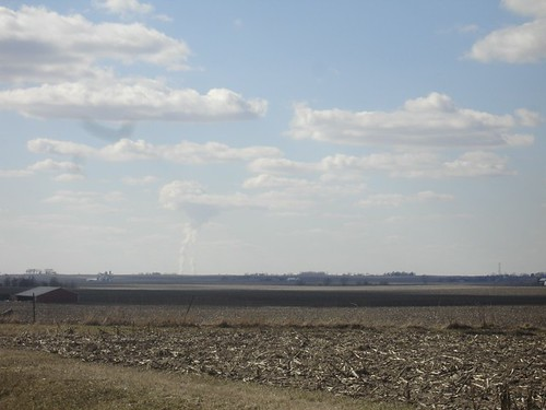 Steam rising from the Byron Nuclear Plant, near Rockford, taken from just outside DeKalb.