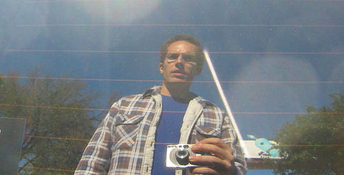My first pic, a self-portrait in a car window