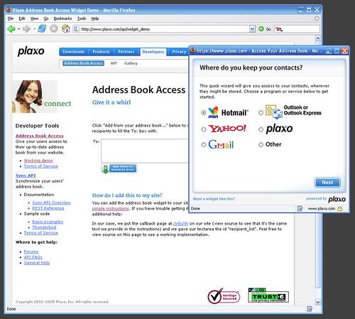 Plaxo Address Book Access Widget