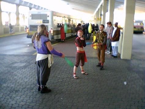 Jugglers at the bus terminal