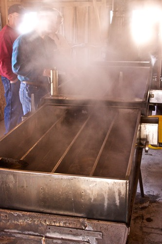 Evaporation device converts watery maple sap into syrup