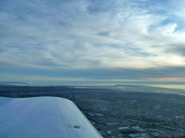 View of downtown San Diego from the pilot's seat