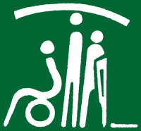 three iconic people, white on green, one in wheelchair, one standing, one with crutch
