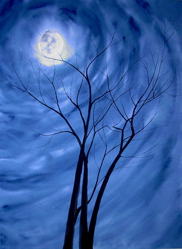 Winter Trees Full Moon