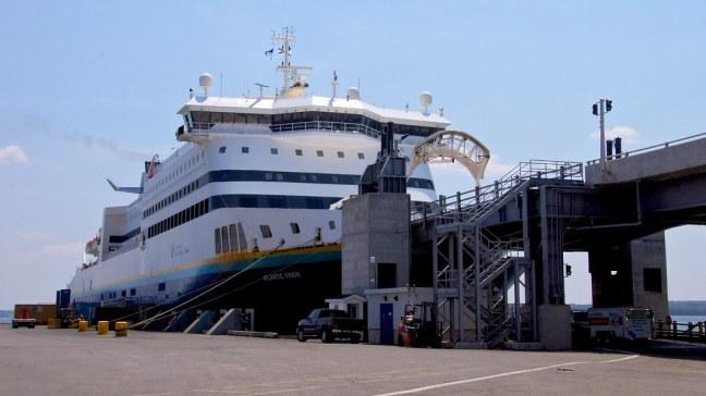Boarding MV Atlantic Vision to Newfoundland