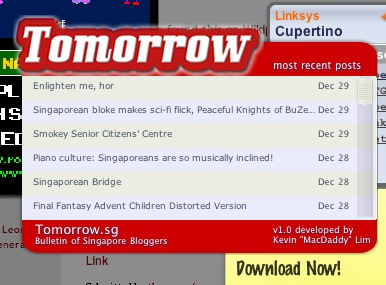 Tomorrow.sg Dashboard Widget released!