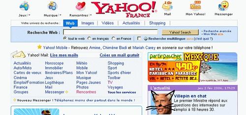 [Capture d'écran de la une de Yahoo avec