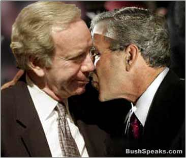 Bush and Lieberman kissing