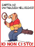 Bottone Caspita ho una pagliuzza nell'occhio realizzato da Cima A.I.U.T.O. Associazione Italiana Uomini Troppo Oppressi