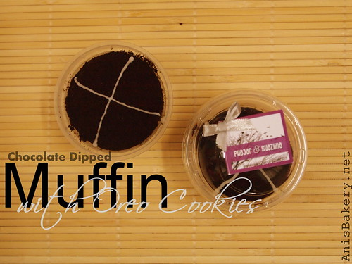 chocolate dipped muffin with oreo
