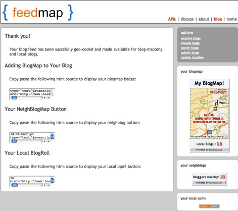 Feedmap output