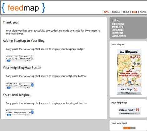 Feedmap output