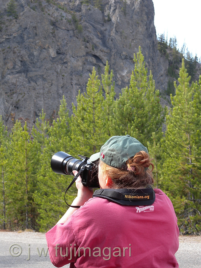 Sherri Shoots A Rock Face