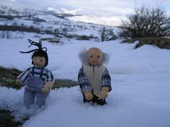 Grandad find a snow drift