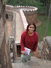 Monica on the wall surrounding Isa Khan's Tomb