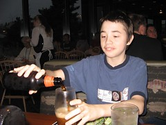 Sean pouring his rootbeer
