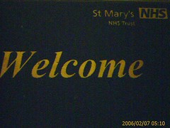 St Mary's Hospital 'Welcome' mat.