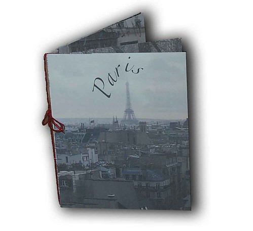 A picture of a booklet I made featuring pictures of Paris