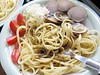 linguine with clams and pesto sauce (homemade)