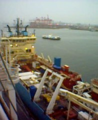 Latvian (or Danish) ship at Canada place